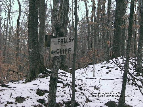 Trail sign:  Fall to right, cliff to left