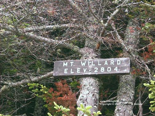 Sign at the summit of Mount Willard, 2804 feet.