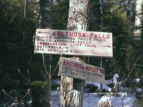 Trail sign:  Arethusa Falls Trail 1.2 miles