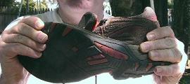 twisting the sole of a hiking shoe